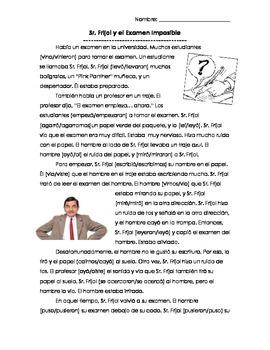 Sr. Frijol y el Examen Imposible-Preterite Reading/Movie T