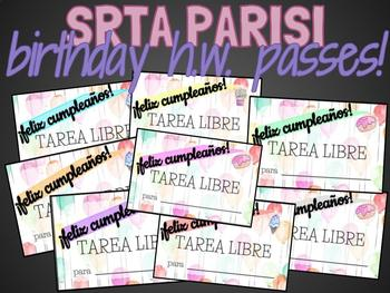 Srta Parisi | BIRTHDAY HW PASSES