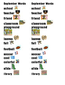 September Word Picture Sentence Helpers