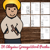 St Aloysius Gonzaga Word Puzzles - No Prep Catholic Activities