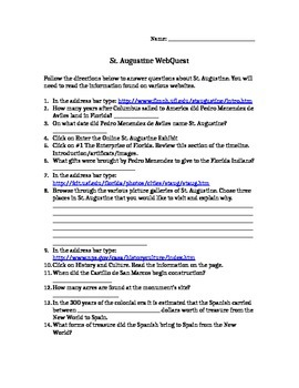 St. Augustine Web Quest