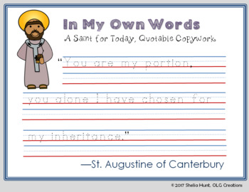St Augustine of Canterbury, Saint Study