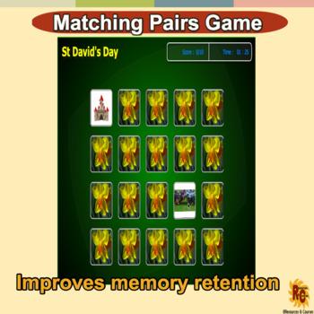 St David's Day Matching Pairs Game Grade 1-3