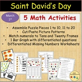 St David's Day Math Numbers 1-20 Bar Graph Patterns Missing Addends & More