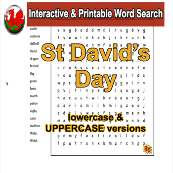 St David's Day Word Search Puzzle Grade 1-3