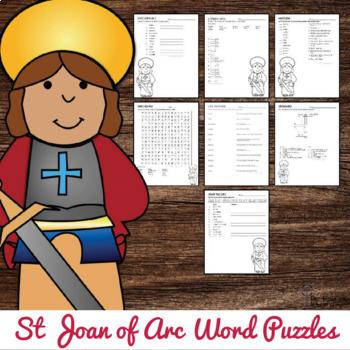 St Joan of Arc Word Puzzles : No Prep Catholic Activity