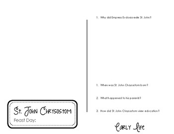 St. John Chrysostom_Interactive Notebook
