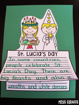 St. Lucia's Day Writing Activities (NO PREP St. Lucia Crafts)