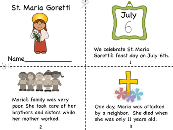 st maria goretti mini book and coloring page