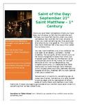 St. Matthew Saint of the Day Worksheet