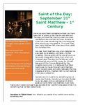 St. Matthew Saint of the Day Worksheet