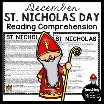 St. Nicholas Day Reading Comprehension Worksheet FREE