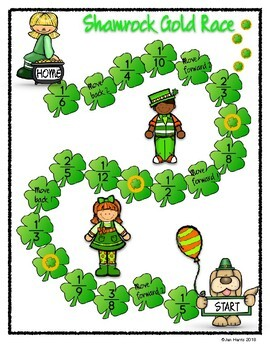 St. Paddy's Day Fraction Task Cards Improper & Mixed Numbers & Fraction Game