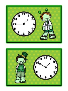 St. Paddy's Day Zombie Card Game - TELLING TIME - Math Folder Game