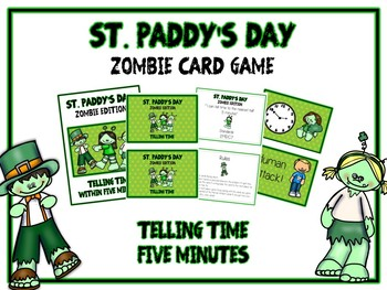 St. Paddy's Day Zombie Card Game - TELLING TIME - Math Fol