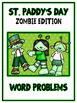 St. Paddy's Day Zombie Card Game - WORD PROBLEMS - Math Folder Game