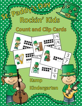 St. Paddy's Day Rockin' Kids Count and Clip Cards (Quantities to 20)