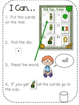 St. Paddy's Day Sight Words Roll, Say, Keep-Editable