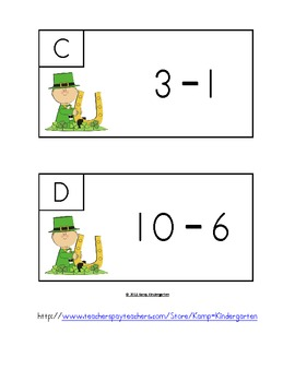 St. Paddy's Day Subtract the Room (Minuends to 10)