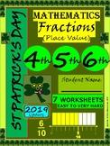St Patrick's Day Fractions Worksheets - Math - Grade 4, Grade 5, Grade 6