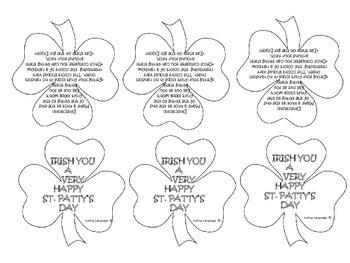 St Partick's Labels for Fruit loops Activity