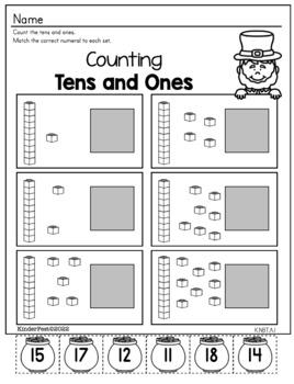 St. Pat's Kindergarten Math and ELA Practice - FREEBIE!