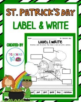St. Patrick' Day Kids Label & Write a Sentence Activity fo