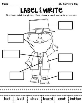 St. Patrick' Day Label & Write a Sentence Activity for K-1st grade