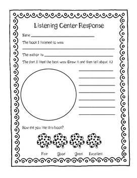St. Patrick' Day Listening Center Response Sheets