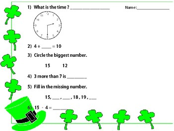 St. Patrick Day Mental Math