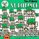 St. Patrick Ireland Boy Ten Frames Clip Art. San Patricio.