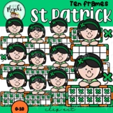 St. Patrick Ireland Girl Ten Frames Clip Art. San Patricio.