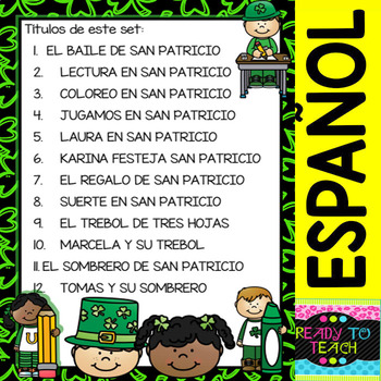 St. Patrick - Trace, Color and Read (Spanish set - 12 Texts) | TpT