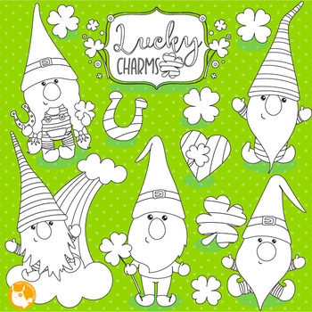 St-Patrick gnomes stamps,  commercial use, vector graphics, images  - DS1060