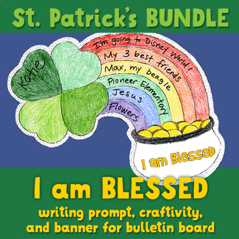 """""""I am blessed"""" writing craftivity and bulletin board pennant banner BUNDLE"""