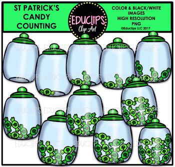 St Patrick's Candy Counting Clip Art Bundle  {Educlips Clipart}