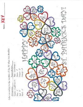 St. Patrick's Color By Exponent Sheet