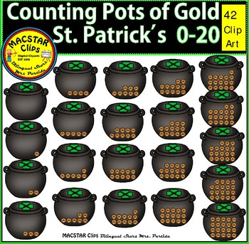 St. Patrick's Counting Pots of Gold 0-20 Clip Art  Personal and Commercial Use