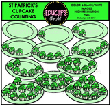 St Patrick's Cup Cake Counting Clip Art  {Educlips Clipart}