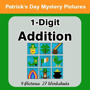 St Patrick's Day: 1-Digit Addition - Color-By-Number Math Mystery Pictures