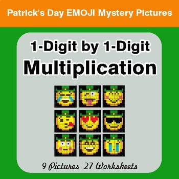 St Patrick's Day: 1-Digit Multiplication - Color-By-Number Math Mystery Pictures