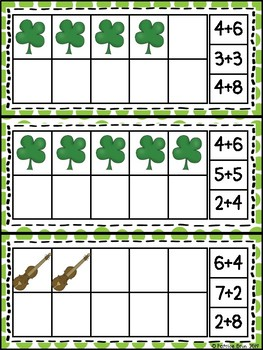 St. Patrick's Day 10 Frame Counting and Addition Math Center