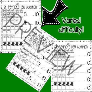 St. Patrick's Day 10 Frame Worksheets