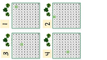 St Patricks Day 100 Chart Missing Number Scoot Math Game