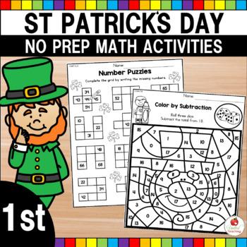 St Patrick's Day 1st Grade No Prep Maths Worksheets