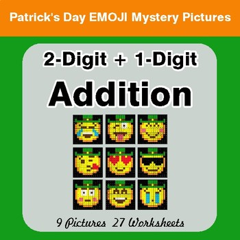 St Patrick's Day: 2-Digit + 1-Digit Addition - Color-By-Number Mystery Pictures