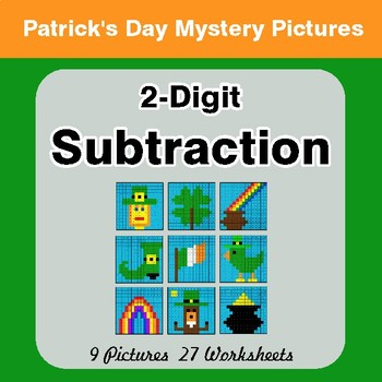 St Patrick's Day: 2-Digit Subtraction - Color-By-Number Math Mystery Pictures