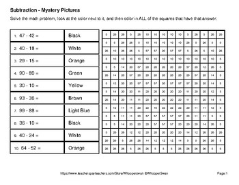 St Patrick's Day: 2-Digit Subtraction - Color-By-Number Mystery Pictures