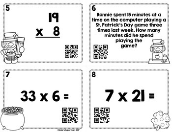 St. Patrick's Day 2 Digit by 1 Digit Multiplication Task Cards with QR Codes