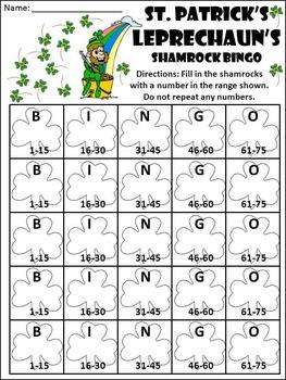 St. Patrick's Day Activities: St. Patrick's Day Bingo Game Activity